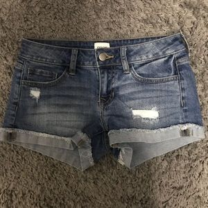 NWOT Cuffed medium wash denim shorts- size S